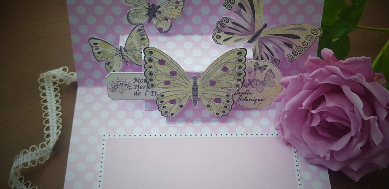 Carte d'anniversaire Fille Thème Papillons et dentelle